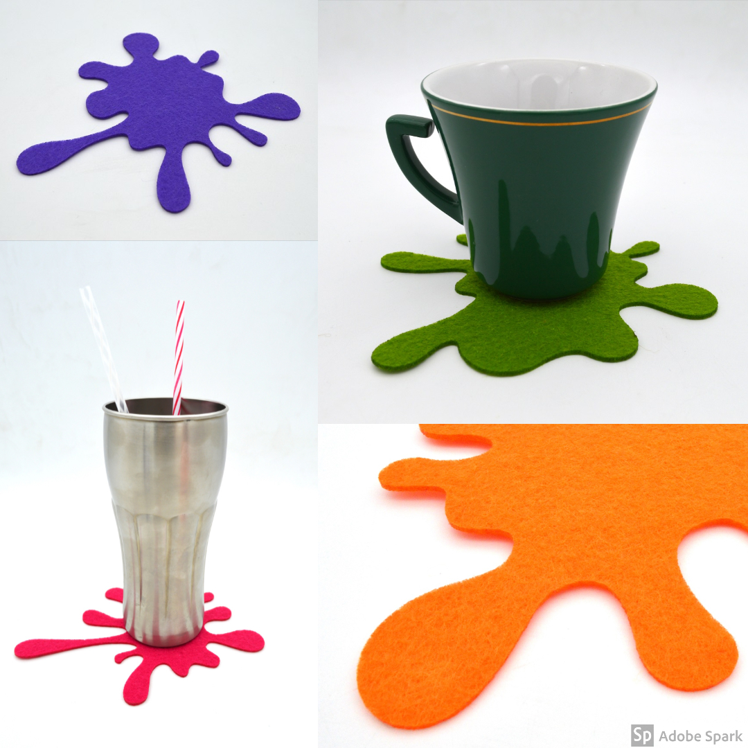 Splash Coasters Set , laser cut, costere colorate, cadouri ,gift