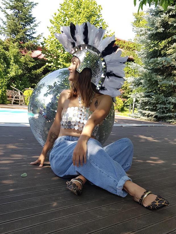 Casca disco, Props, petrecere tematica, accesorii costume, photo shooting, photo corner, anii 80 , 70, peruca cu creasta