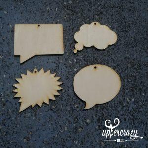 Figurina lemn bulina mesaj - set 4 buc
